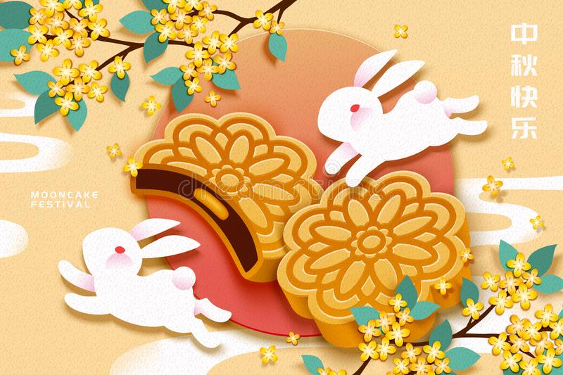Traditional pastry mooncake. Mooncake festival with white rabbit and delicious pastry on light yellow background, Mid autumn holiday written in Chinese words royalty free illustration