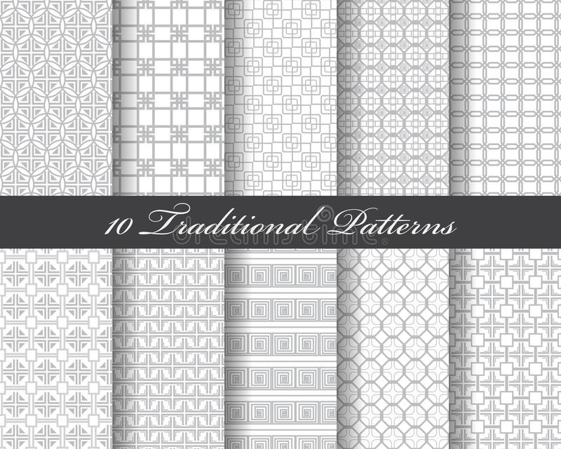 10 traditional patterns vector illustration