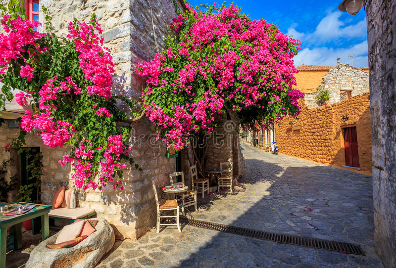 Traditional paved street in Areopolis town, Greece royalty free stock image