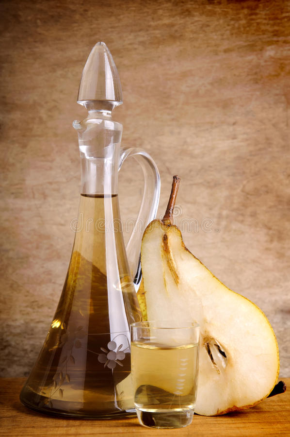 Traditional pear brandy stock images