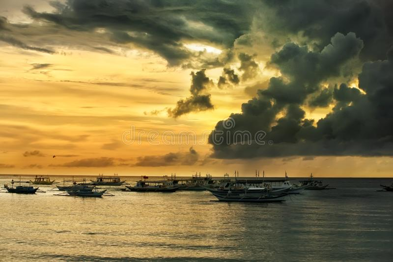 Traditional Philippine boats on sunset. Boracay royalty free stock photography