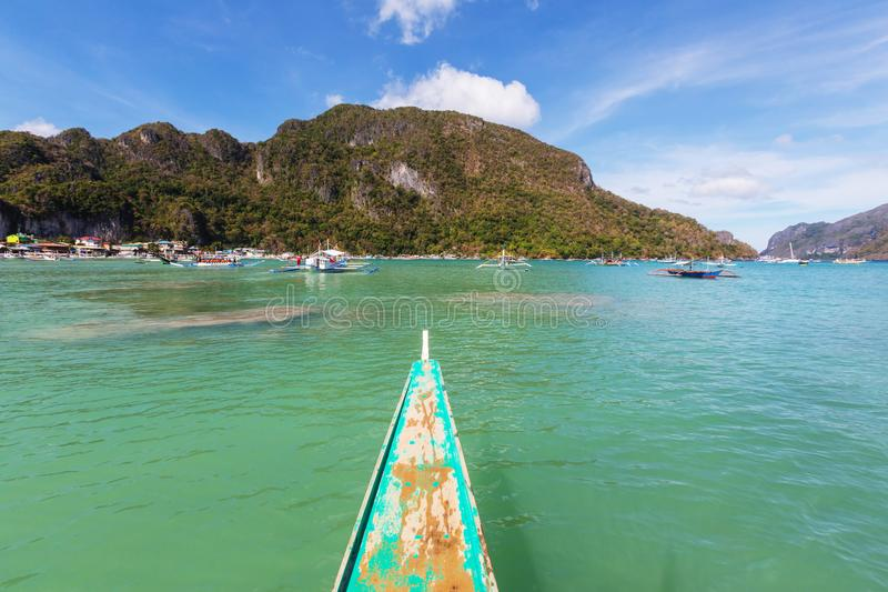Boat in Philippines. Traditional Philippino boat in the sea, Palawan island, Philippines royalty free stock images