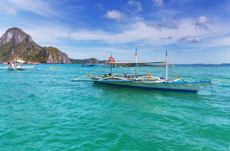 Boat in Philippines. Traditional Philippino boat in the sea, Palawan island, Philippines royalty free stock photo