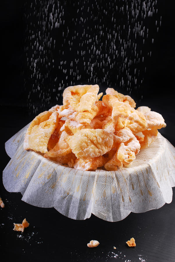 Traditional in Poland deep fried pastry faworki for carnival par stock photo