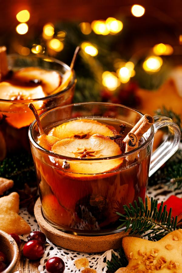 Traditional polish compote of dried fruits and spices for Christmas dinner, close up. Traditional Polish Christmas stock image