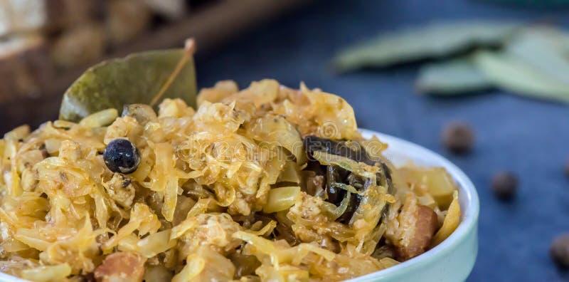 Bigos - traditional Polish dish. Traditional Polish Easter and Christmas food - bigos - closeup - banner stock photography