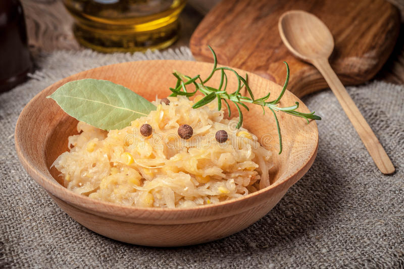 Traditional polish peas with cabbage. Selective focus stock photography