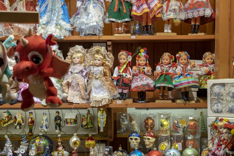 Traditional Polish souvenir dolls at gift store. Christmas market in Krakow royalty free stock photography
