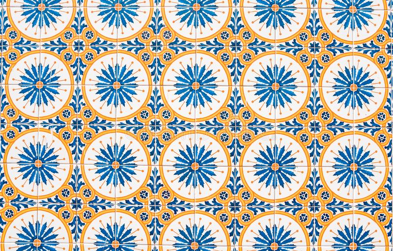 Traditional Portuguese ceramic tiles, hand painted in circular pattern royalty free stock photography