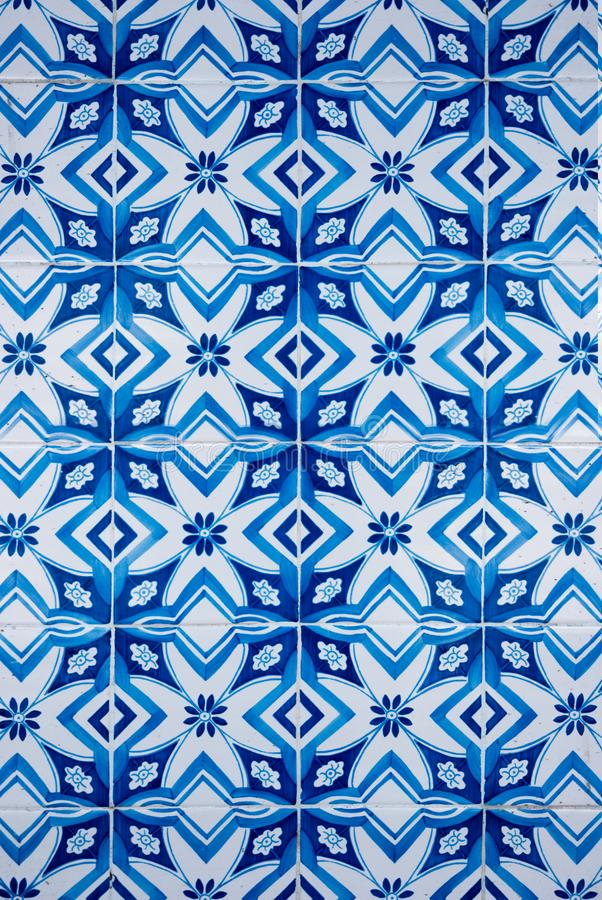 Traditional Portuguese glazed tiles. Closeup detail of old Portuguese glazed tiles royalty free stock photos