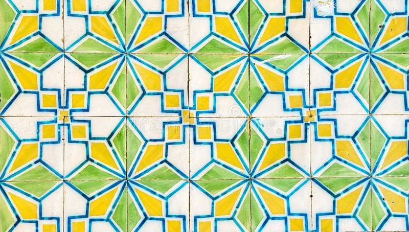 Traditional Portuguese hand painted ceramic tiles stock photos