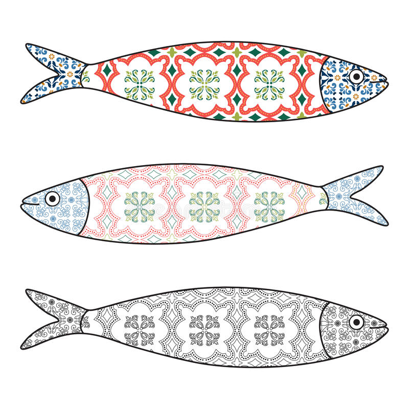 Traditional Portuguese icon. Colored sardines royalty free illustration