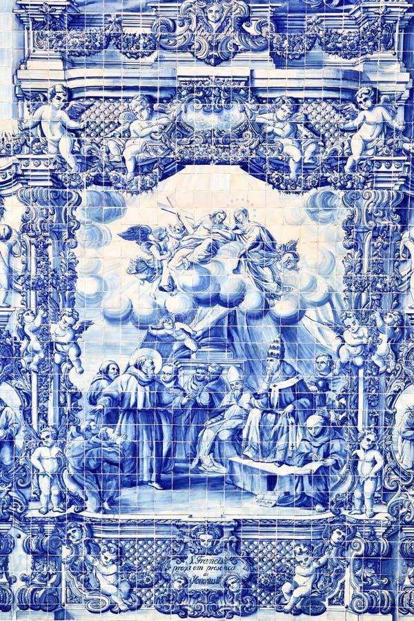 Traditional portuguese tilework azulejo stock photography