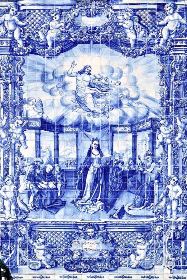 Traditional portuguese tilework azulejo stock photo