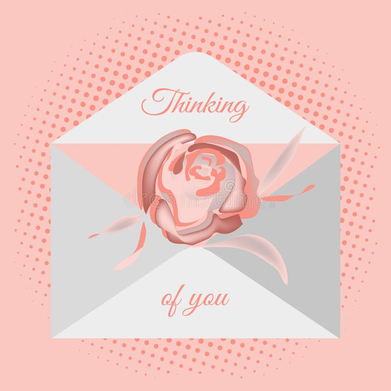 Traditional postal envelope with romantic wish. Image of flowers of roses and hearts. Vector drawing for design of messages, cards vector illustration