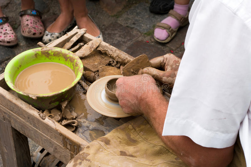 Traditional pottery. A view of making a traditional pottery royalty free stock image