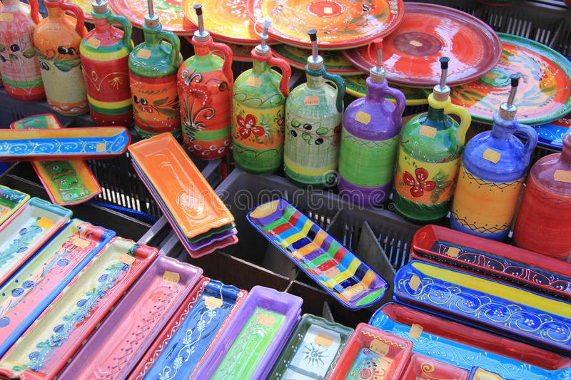 Traditional Pottery On A Market In The Provence Stock Photos