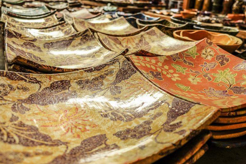 Traditional Pottery Plate from Lombok stock image