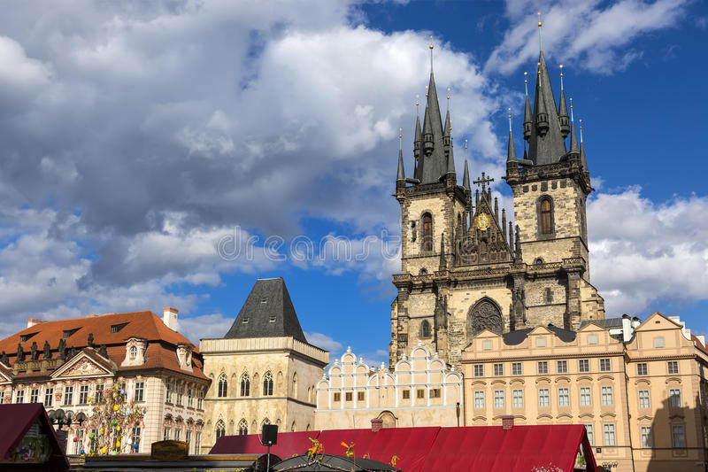 Traditional Prague Easter market on Old Town Square in Prague, Czech Republic royalty free stock images