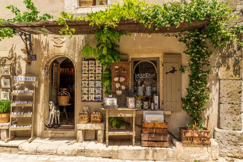 Traditional products at Baux-de-Provence in France royalty free stock images