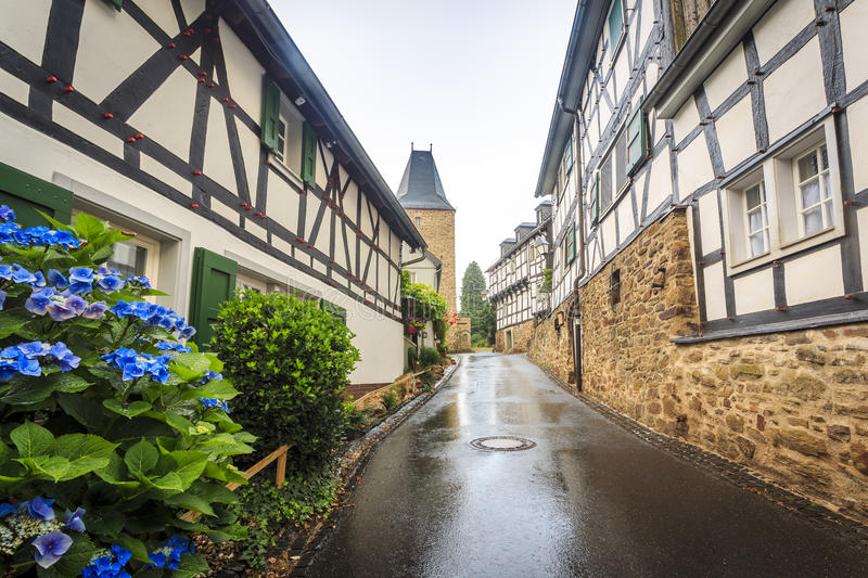 Traditional prussian wall in architecture in Germany. Traditional prussian wall in architecture at historic Blankenberg, Germany stock photo