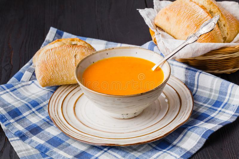 Traditional pumpkin soup, tasty and warming stock photo