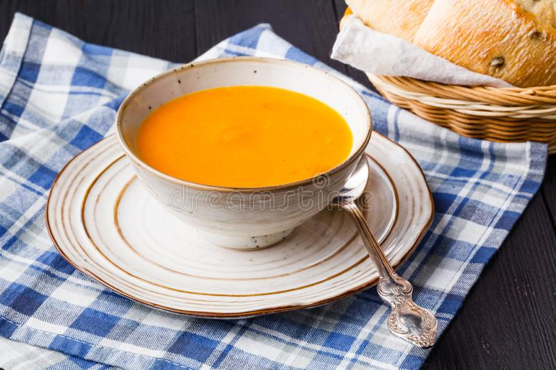 Traditional pumpkin soup, tasty and warming royalty free stock photo