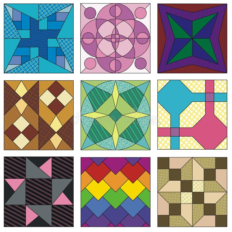 Traditional Quilting Patterns Stock Vector - Image: 74722403 : traditional quilt block patterns - Adamdwight.com