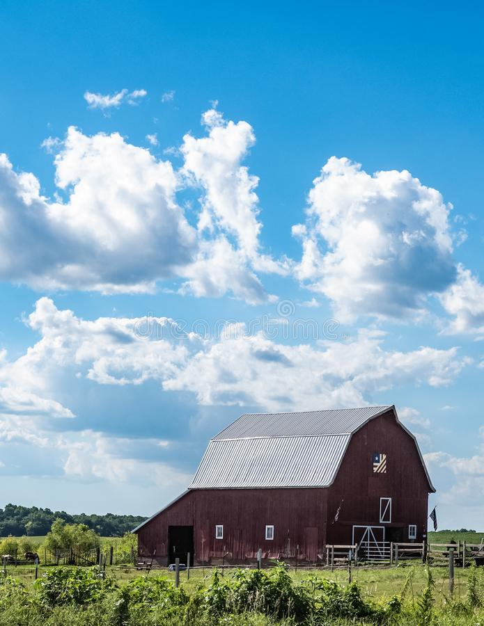Vertical barn quilt country landscape stock image