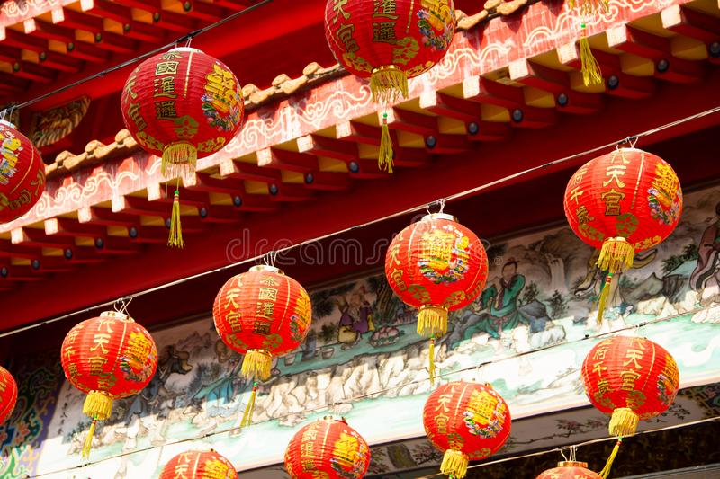 Traditional Red Chinese lantern during Chinese new year festival decorated in Chinese temple. Traditional Red Chinese lanterns during Chinese new year festival stock photography