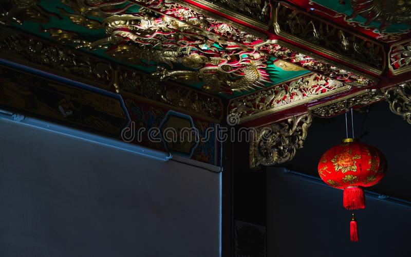 Traditional Red Chinese lantern during Chinese new year festival decorated in Chinese temple. Traditional Red Chinese lanterns during Chinese new year festival stock photo