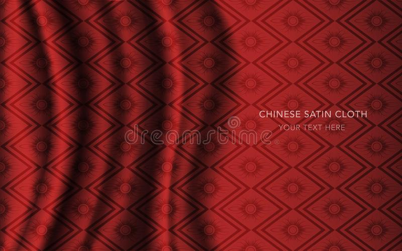 Traditional Red Chinese Silk Satin Fabric Cloth Background rhomb check sawtooth cross flower vector illustration