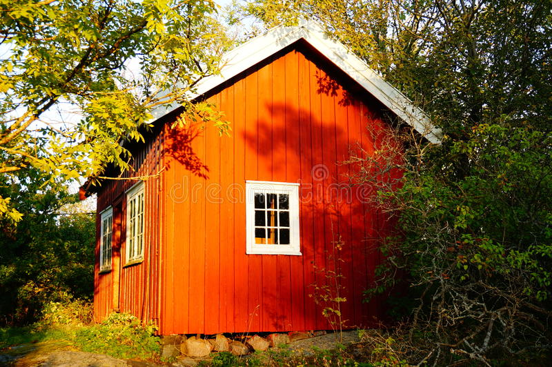 Traditional red garden house Stangnes in Norway royalty free stock photography