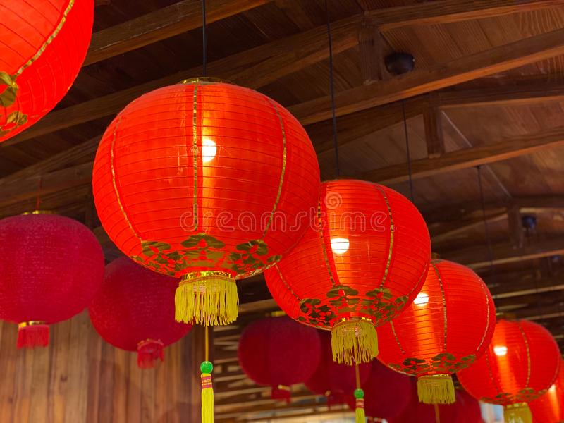 Traditional red lantern hanging on ceiling in Chinese new year royalty free stock image