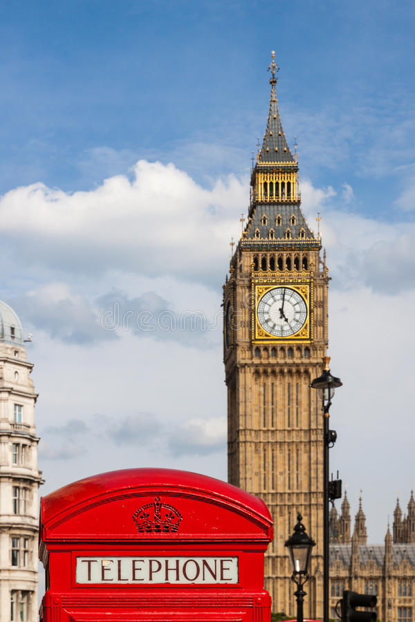 Traditional Red Telephone Box and Big Ben in London, UK royalty free stock image