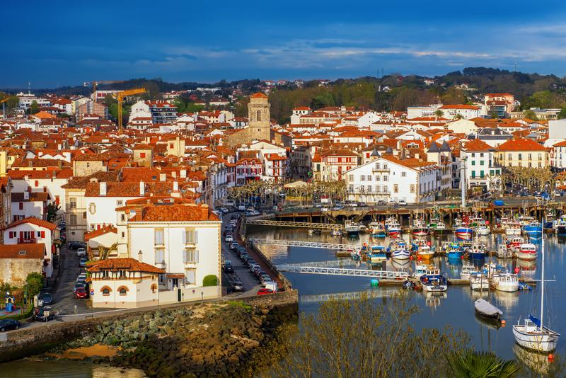 Traditional basque houses in the Old Town of Saint Jean de Luz,. Traditional red and white basque houses in the Old Town of Saint Jean de Luz, Basque Country royalty free stock images