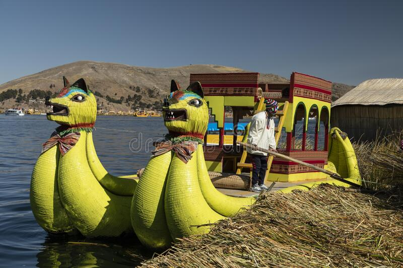 Traditional reed or totora boat. Titicaca lake. Perú. royalty free stock photography
