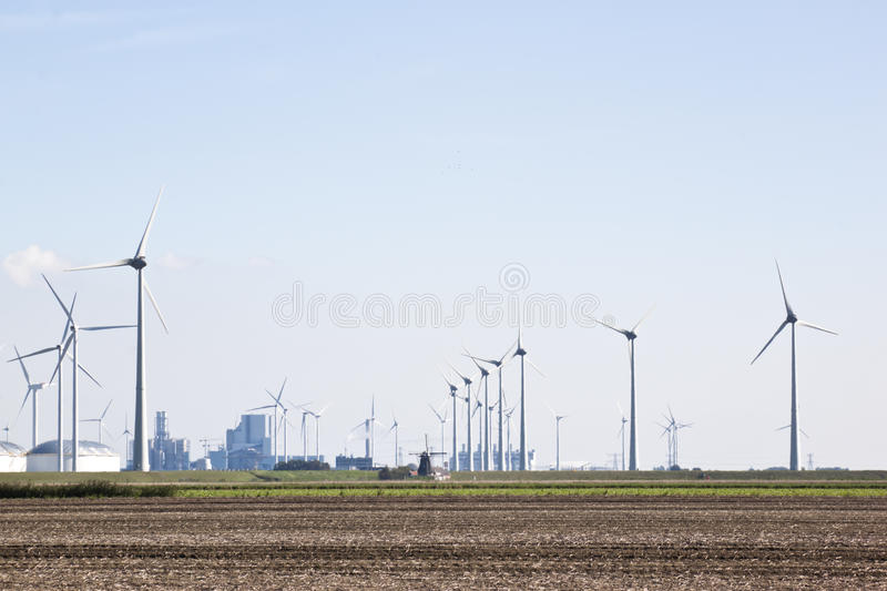Traditional and renewable windmills in the Netherlands royalty free stock photography