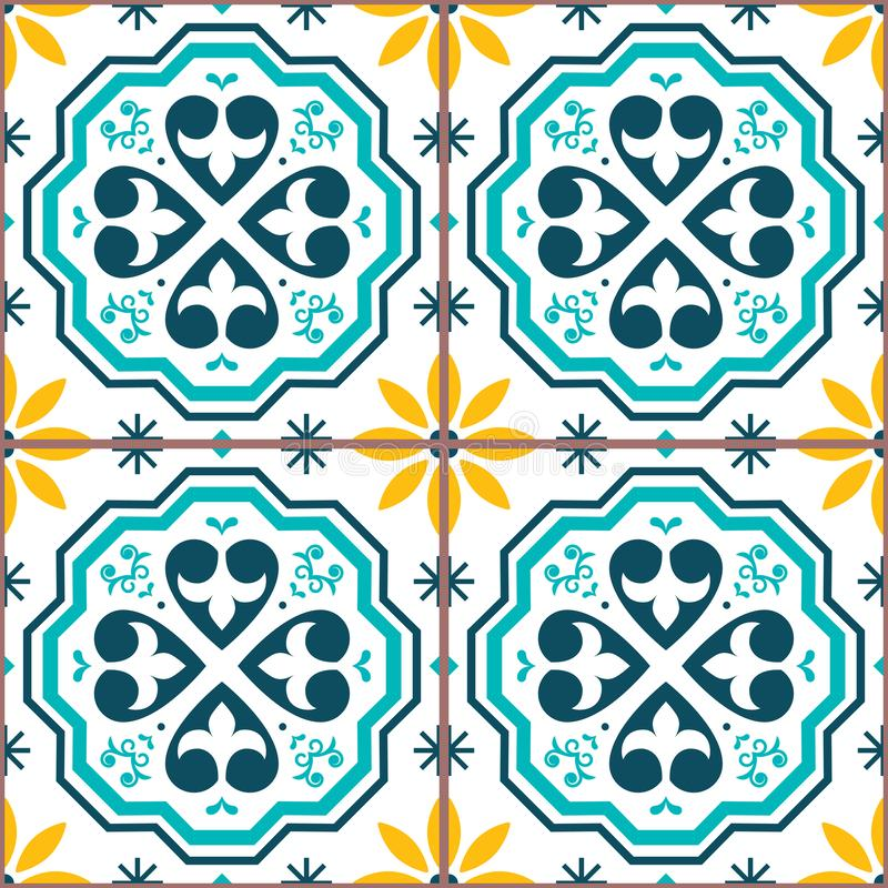 Moroccan or Portuguese vector seamless tile pattern, Azulejo geometric design in navy blue royalty free illustration