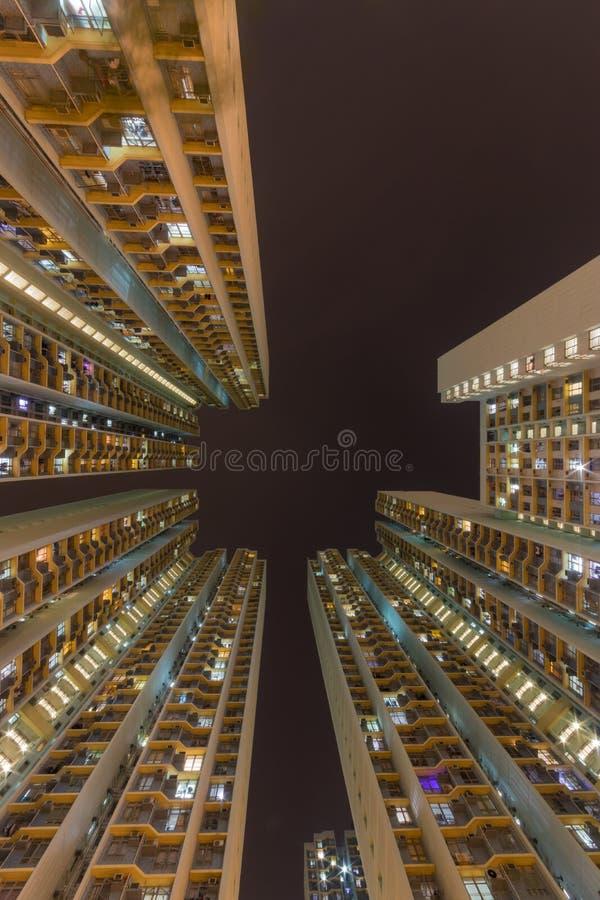 Traditional residential building at nigh Hong Kong stock image