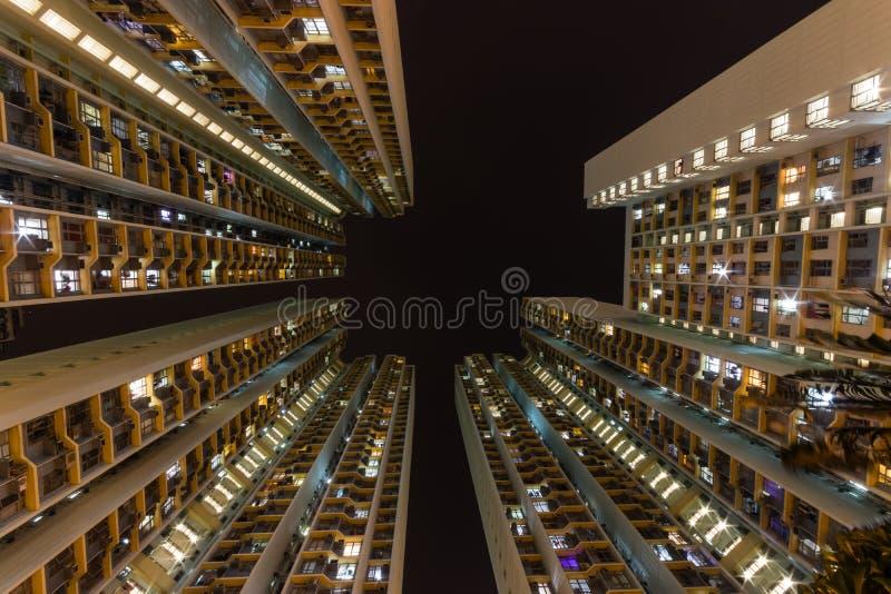 Traditional residential building at nigh Hong Kong stock photos
