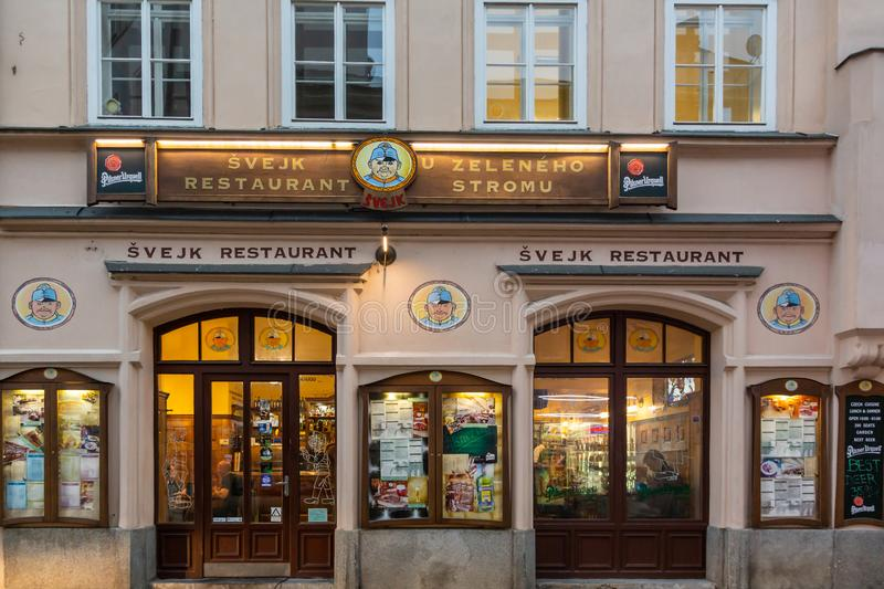 Traditional restaurant with signs of the national character Brave Soldier Svejk in Prague Czech Republic. royalty free stock images