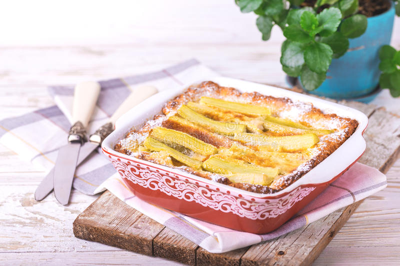 Traditional rhubarb pie. Sweet pieplant cake baked food stock photography