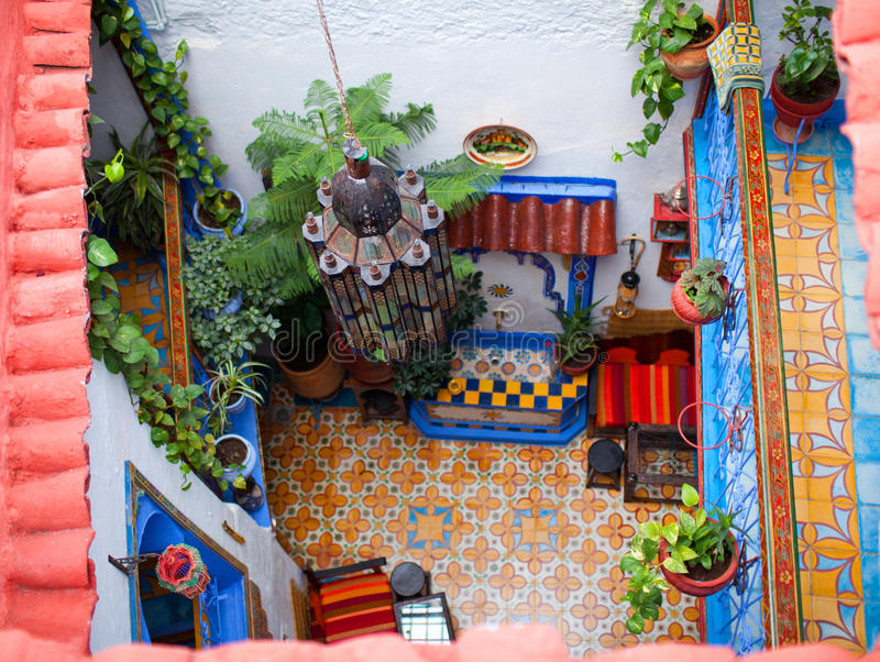 Traditional riad interior in Chefchaouen medina, Morocco royalty free stock photography
