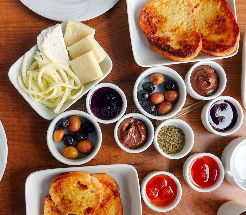 Traditional Rich Turkish Breakfast royalty free stock photos