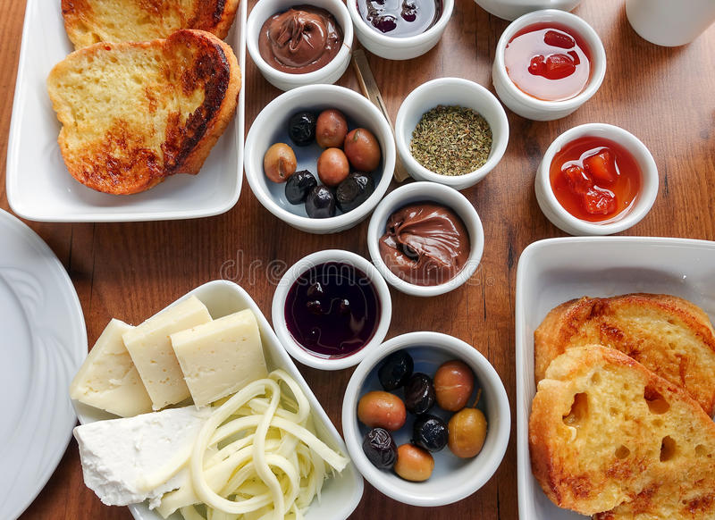 Traditional Rich Turkish Breakfast royalty free stock photography