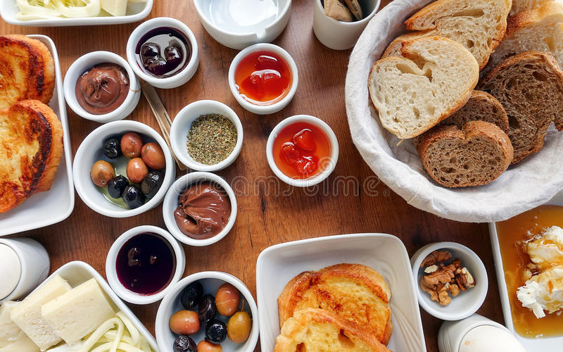 Traditional Rich Turkish Breakfast royalty free stock photo
