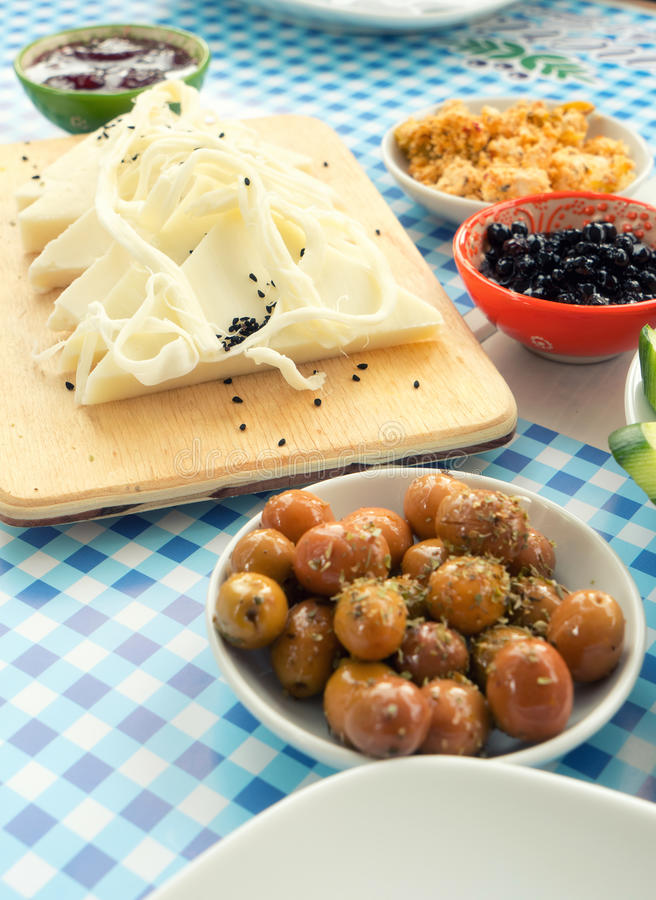 Traditional Rich Turkish Breakfast stock images