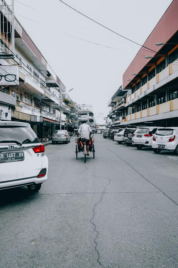 Traditional rickshaws, pontianak Indonesia, 30/10/2019, rickshaws become a traditional means of transportation. 30102019 stock photo