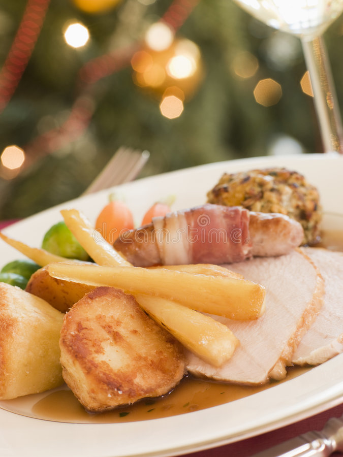 Traditional Roast Turkey with trimmings Plated royalty free stock images